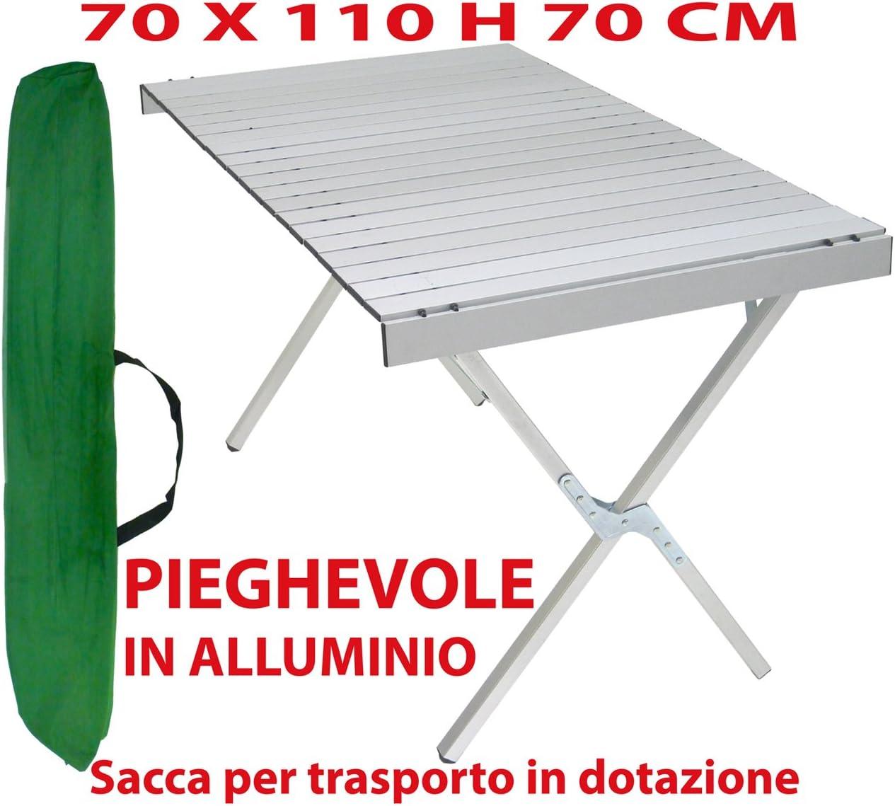 Tavolino Pieghevole in Resina e Acciaio 70x110 cm Esterni
