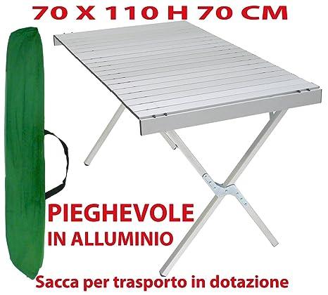 Tavolo Campeggio Alluminio Avvolgibile.Tavolo Tavolino Pieghevole In Alluminio 70x110 Cm Per Campeggio Casa Camper Pic Nic Fiera