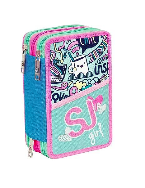 Estuche escolar 3 compartimentos SEVEN - SJ GIRL - 3 pisos ...