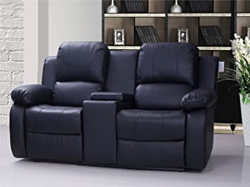 Uk Stock Valencia 2 Seater Leather Recliner Sofa With Drinks Console
