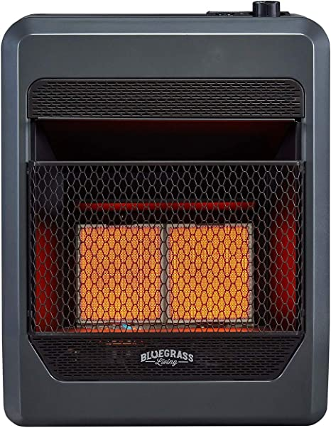 Amazon Com Bluegrass Living B18tpir Bb Propane Vent Free Infrared Gas Space Heater With Blower And Base Feet 18 000 T Stat Control 20 000 Btu Black Home Kitchen
