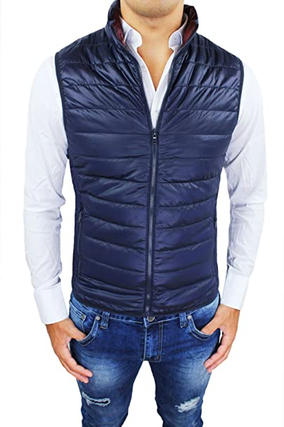 the latest 23387 df09d Bruno Leoni Giubbotto Piumino Uomo Smanicato Gilet Blu Slim Fit Nuovo