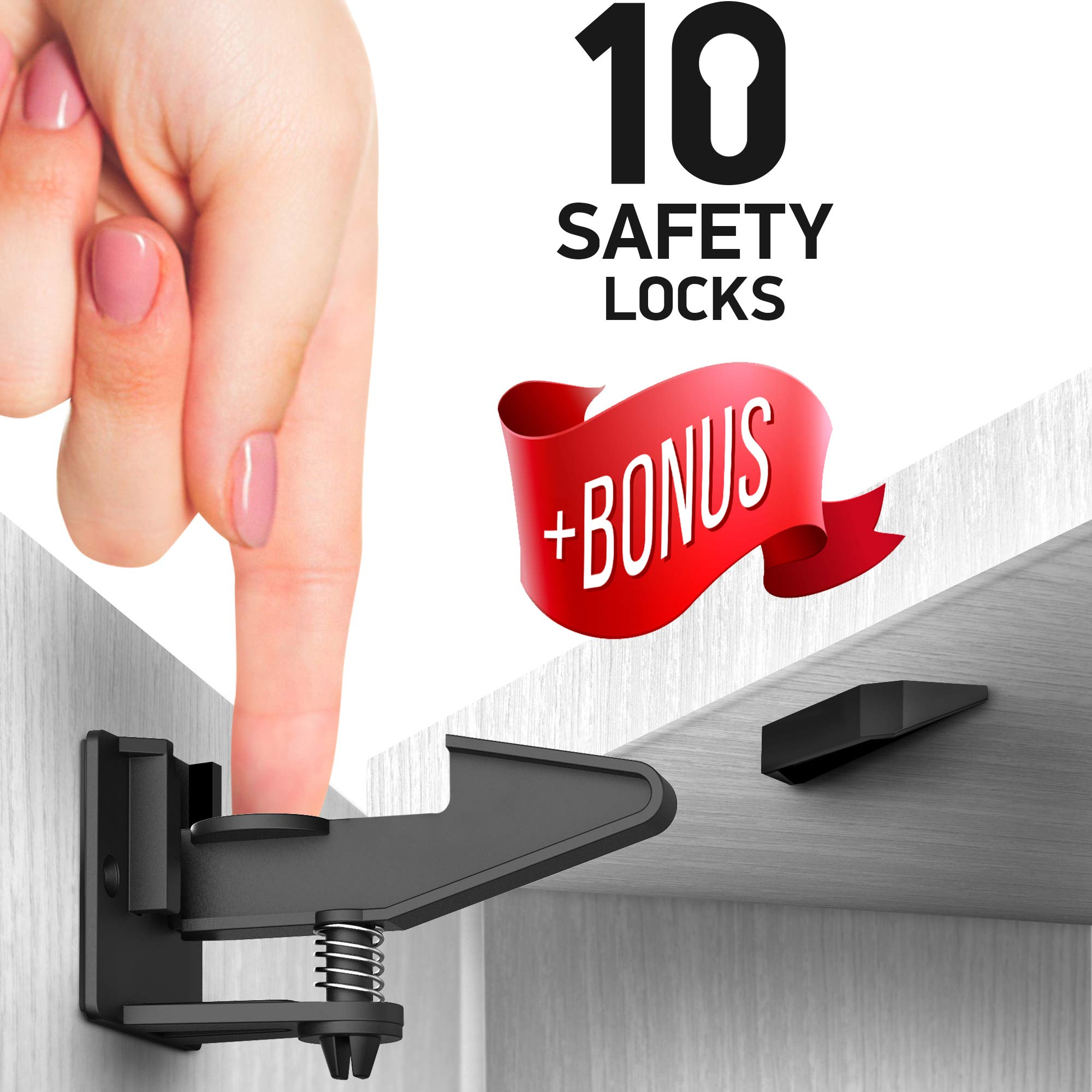 Kitchen Cabinet Locks Child Safety - Adhesive Child Proof Cabinet Locks - Baby Safety Cabinet Locks - Quick and Easy Child Locks for Cabinets and Drawers - BONUS Corner & Door Guards, Socket Covers