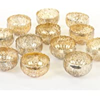 Koyal Wholesale Vintage Gold Floating Tealight Candle Holders, 12-Pack, Petite Glass Candle Holders for Tealight Candles…