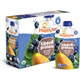 Happy Tot Organic Stage 4 Fiber & Protein Pears Blueberries & Spinach, 4 Ounce Pouch (Pack of 16) Toddler Snack, 3g Protein & Fiber, Dairy-Free Gluten-Free Kosher No Added Sugar (Packaging May Vary)