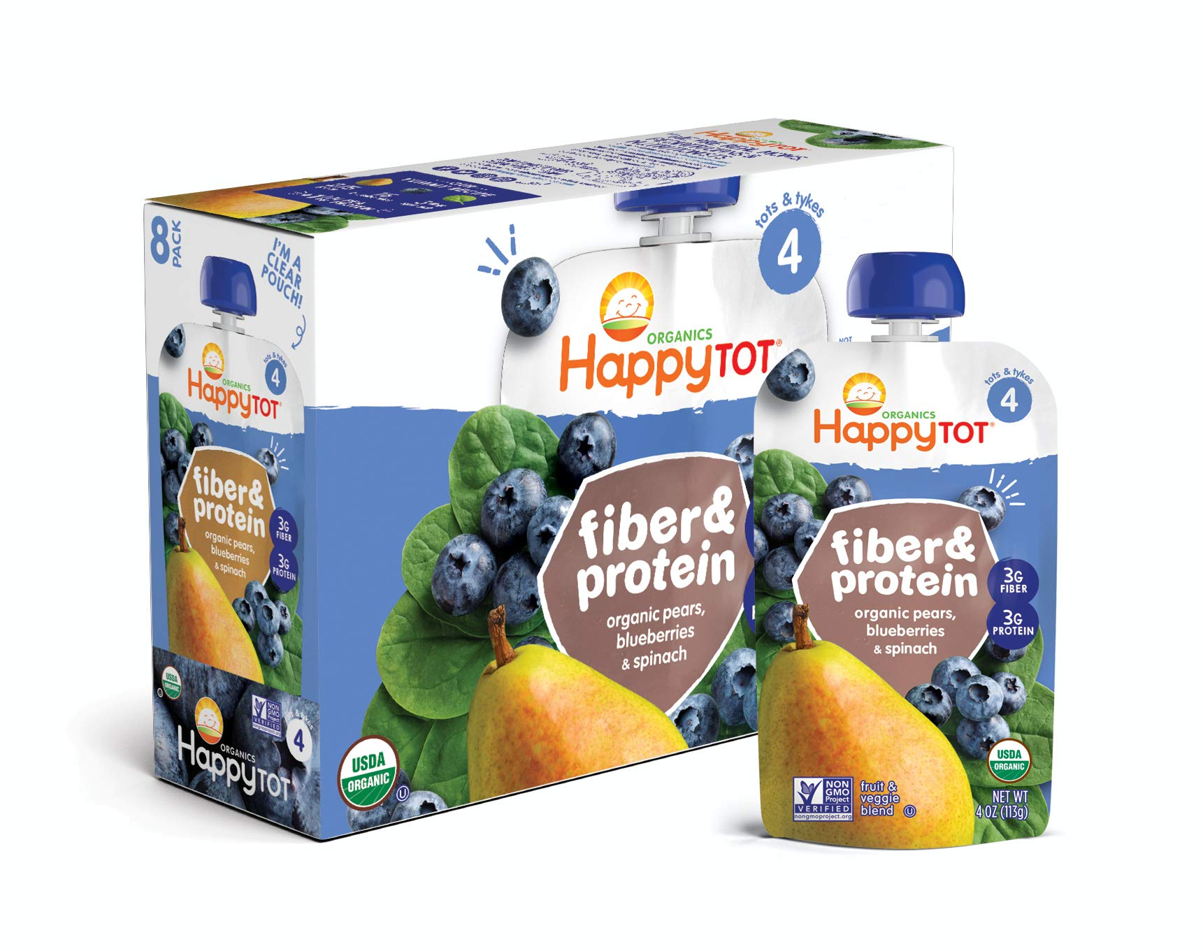 Happy Tot Organic Stage 4 Fiber & Protein, Pears, Blueberries & Spinach, 4 Ounce (Pack of 16) by Happy Baby