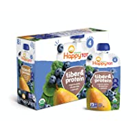 Happy Tot Organic Stage 4 Fiber & Protein, Pears, Blueberries & Spinach, 4 Ounce...