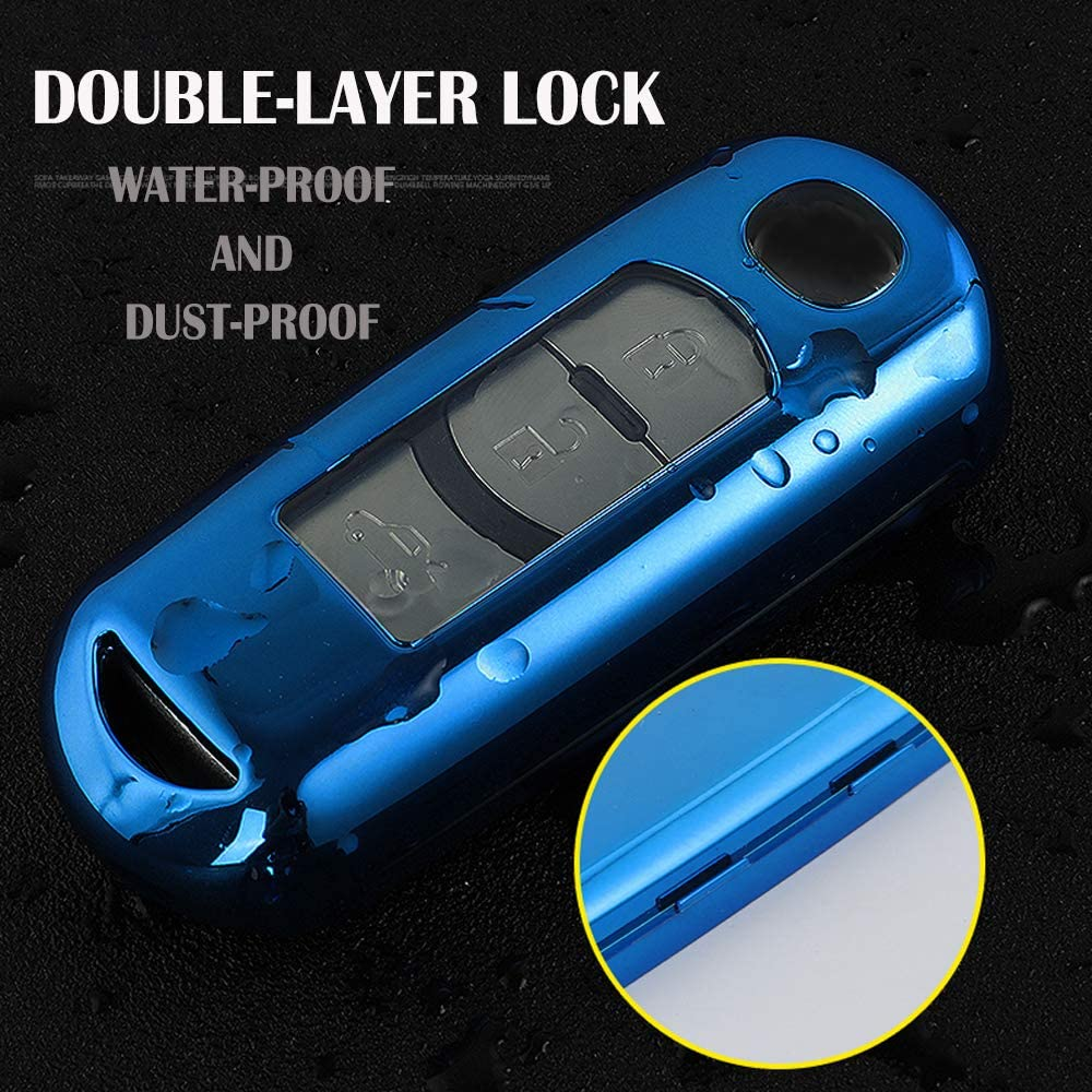 Vorda Mazda Key Fob Cover,Fit for 2//3//4 Bottons Remote Key Mazda 2 3 5 6 8 CX3 CX5 CX7 CX9 MX5 Key Fob,Smart Car Key Soft TPU Case Shell Protector Key Fob with Alloy Keychain Pink