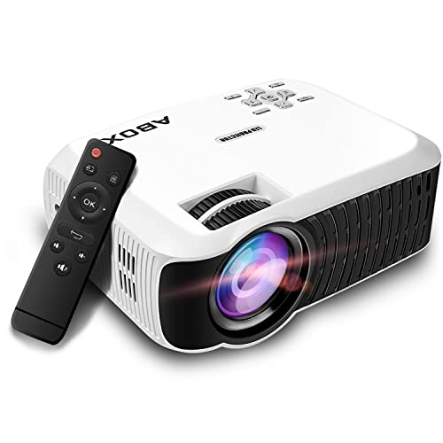 Video Projector 2400 Lumens, ABOX T22 LED Mini Video Projectors Support 1080P Input Portable Mini Home Cinema LED Projector 800*480 Resolution for PC Laptop PS4 Smartphone Xbox and Android TV Box