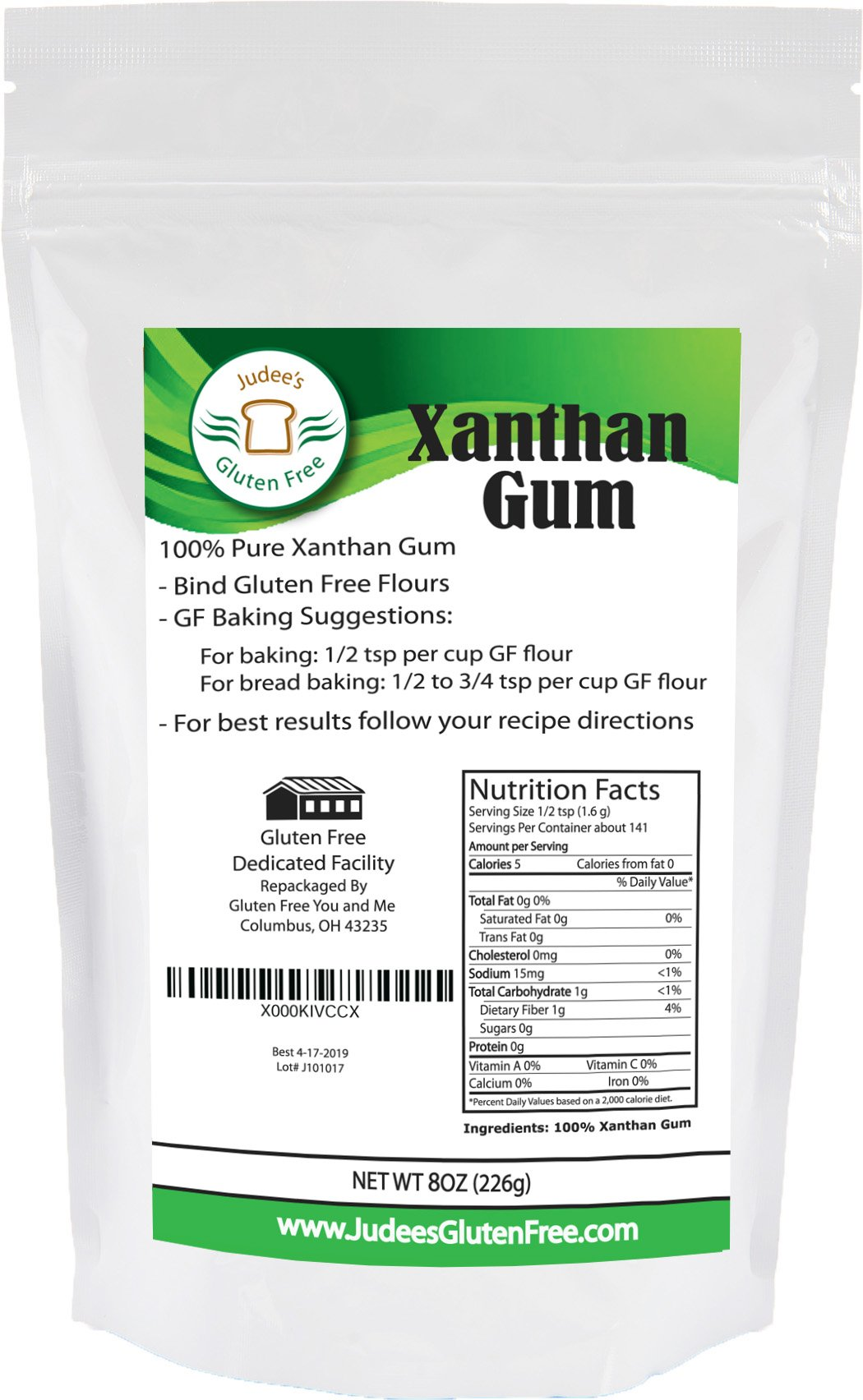 Judee's Xanthan Gum Gluten Free(8 oz) - USA Packaged & Filled - Dedicated Gluten & Nut Free Facility - Perfect for Low Carb Keto Cooking & Thickening Sauces, Gravies, and Smoothies. Non-GMO