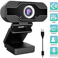 Aiglam Webcam, USB Webcam,PC Webcam Full HD con Microfono Stereo elecamera PC Microfoni Audio Stereo ridurre Il Rumore per Video Chat e Registrazione(Nero 1)