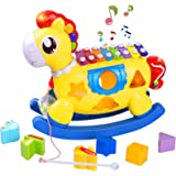 STOTOY Baby Music Toy, Toddler Music Toys with Xylophone, Educational Baby Toy with Lights, Music, Blocks, Shape Sorter 5-in-