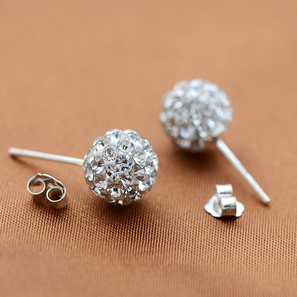 joyliveCY Nice Woman Jewelry Chic 925 Silver Stud Earings 8Mm Smooth Bead 95q13CUdg