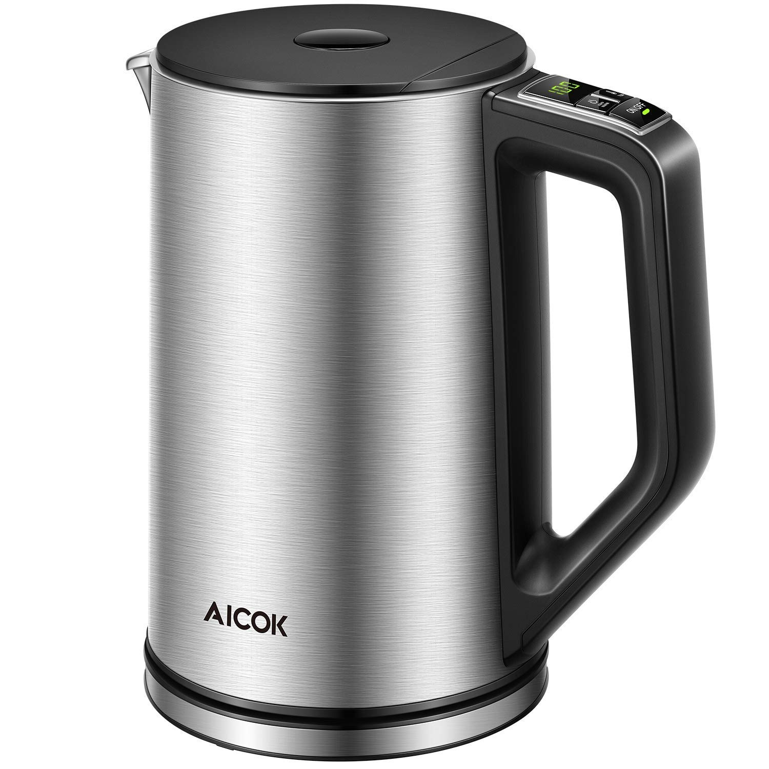 Aicok Electric Kettle Temperature Control, Double Wall Cool Touch Stainless Steel Kettle with LED Display from 35°- 100℃ |BPA-Free| Quick Boil |Keep Warm| Strix Control | (1.5 L, 2200 W)