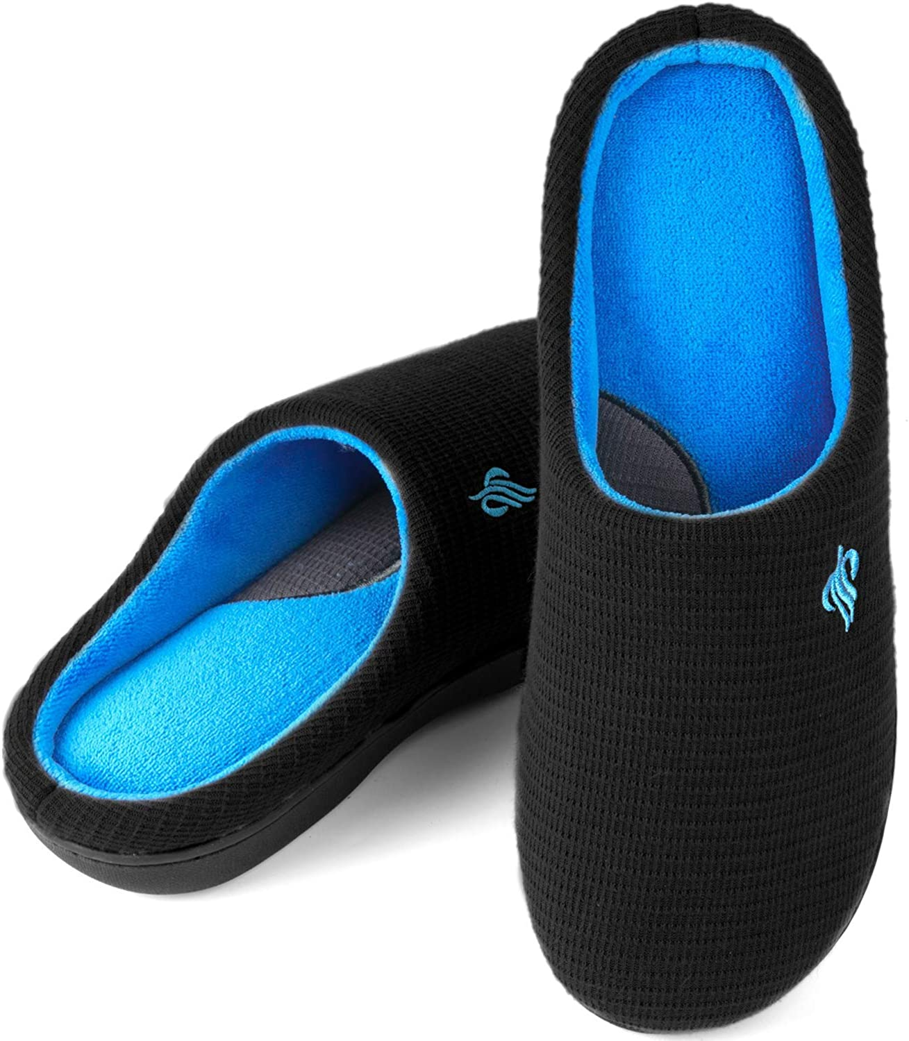 Wishcotton Mens Classic Two-Tone Slippers, Comfy Memory Foam House Shoes