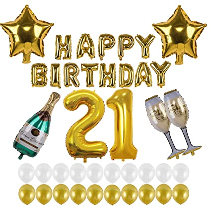 Kwayi 21st Birthday Decorations Happy Gold Balloon Decoration Set With 21 Number Foil