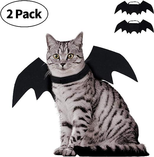 lapus 2 Pack Halloween Pet Bat Wings Cat Dog with 2 Pumpkins bell Bat Vampire Costume Halloween Accessory for Puppy ...