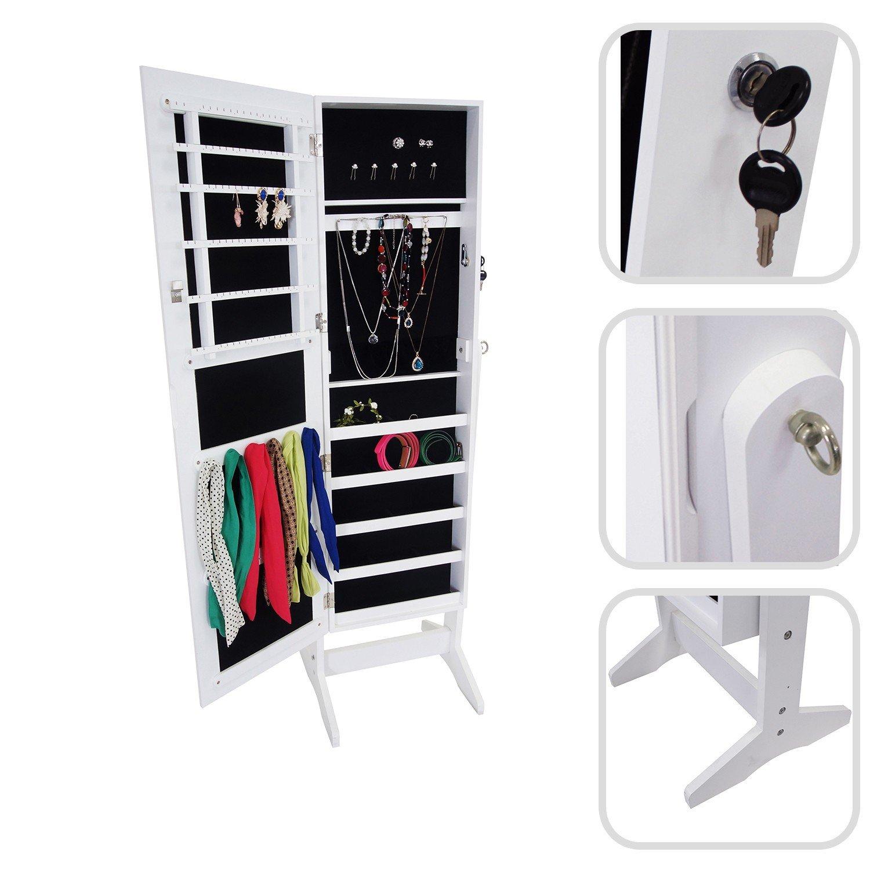 Todeco - Schmuckschrank mit Spiegel , Spiegel Organizer - Material  MDF - 120 x 38 x 9 cm, Weiß, Ständer