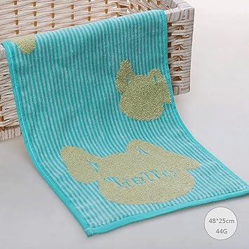 ZLR Toalla de algodón puro Niños de dibujos animados Toalla pequeña linda Cómodo Cómodo Sra. Wash Face Toallas pequeñas (Toallas * 2) (Color : Azul) : ...