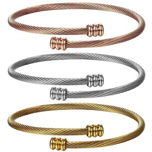 JewelryWe Schmuck 3PCS Damen Armband Set, Elegant Mode Charm ...