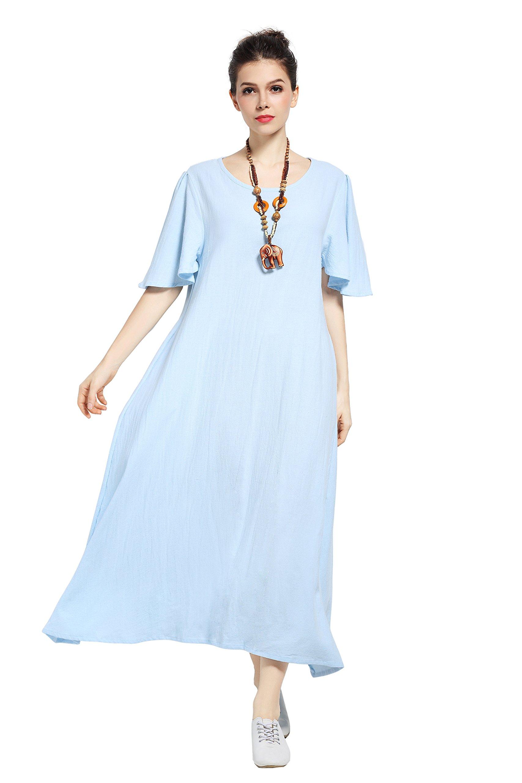 Anysize Ruffle Sleeve Linen&Cotton Spring Summer Plus Size Dress F141A