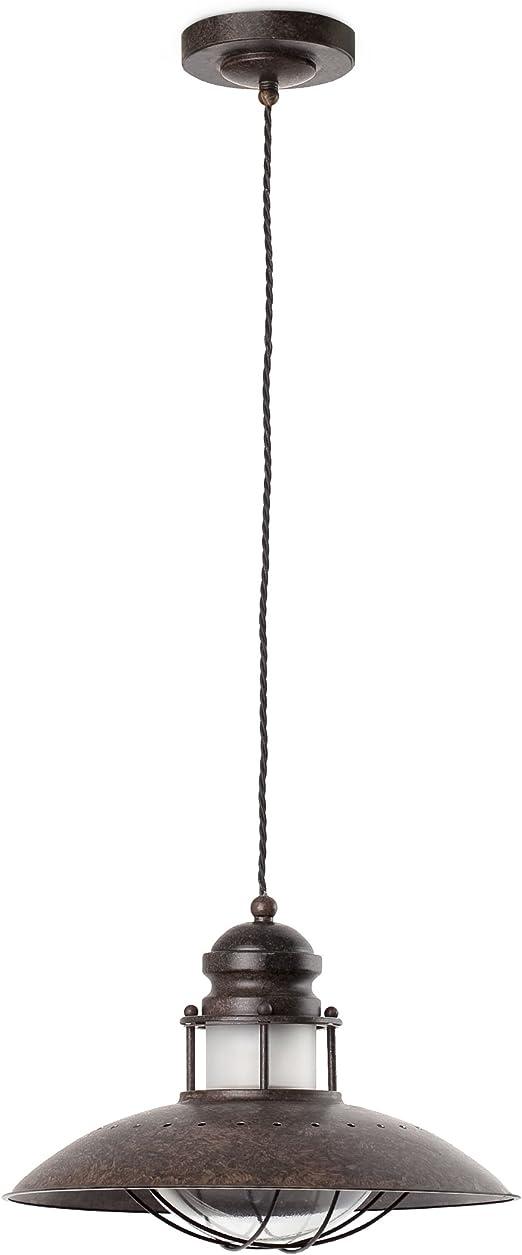 Imagen deFaro Barcelona 66204 - WINCH Colgante, 60W, metal y difusor de cristal, color marron           [Clase de eficiencia energética A]
