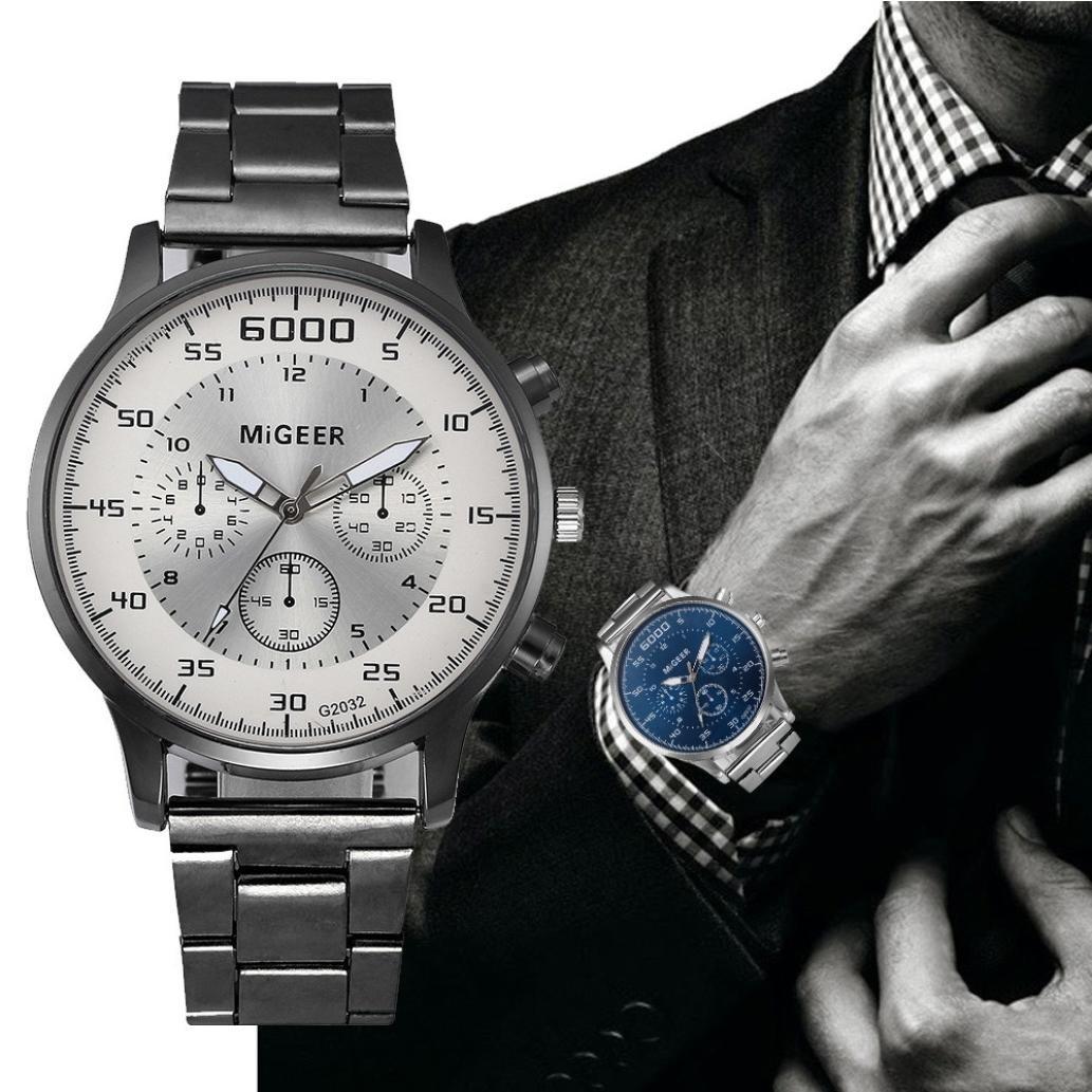 Reloj de cuarzo análoga para hombres, QinMM reloj de negocios correa de acero inoxidable (Blanco): Amazon.es: Relojes