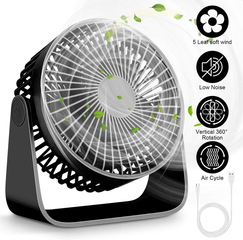 Mini Ventiladores de Sobremesa, Ventilador USB de Escritorio, Ventilador 360 ° Rotación,Ventilador de Mesa Silencioso, Ventilador USB 3 Ajustable para Oficina, Hogar, Viaje(Negro)