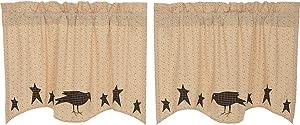 VHC Brands Primitive-Kitchen Curtains Prim Grove Crow-Rod Pocket Cotton Appliqued Star 24x36 Tier Pair, Dark Creme Tan