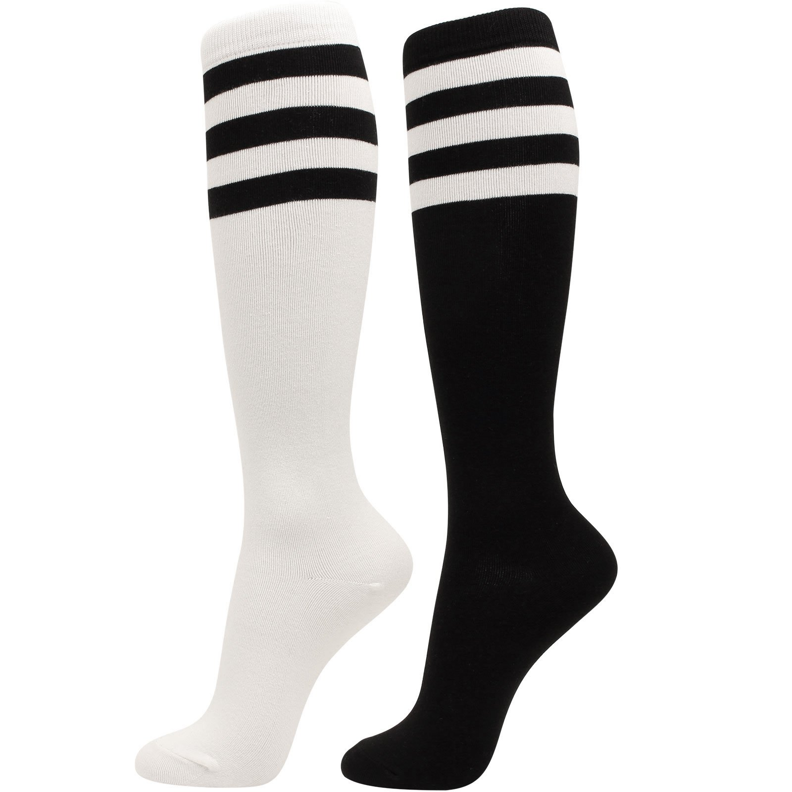 WOWFOOT Girl Knee High Socks Soft Cotton Colorful Pattern Design For Women Summer or Winter ,R-triple Stripes 2pair(black,white),One Size