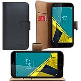 Vodafone Smart Prime 6 Bookstyle - iProtect similcuero cuero Flip Case HTC One Mini2 funda protectora negro