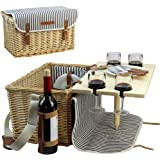 Wicker Picnic Basket for 4, 4 Person Picnic Kit, Willow Hamper Service Gift Set with Bamboo Wine Snack Table for Camping and Outdoor Party