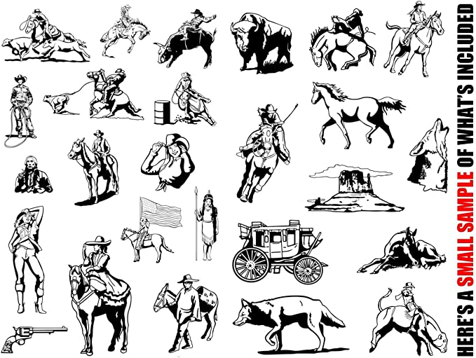 cowboy-rodeo-western-horse clipart-vinyl Cutter Plotter Clip Art Sign Making images-design Vector arte gráfica CD-ROM: Amazon.es: Juguetes y juegos