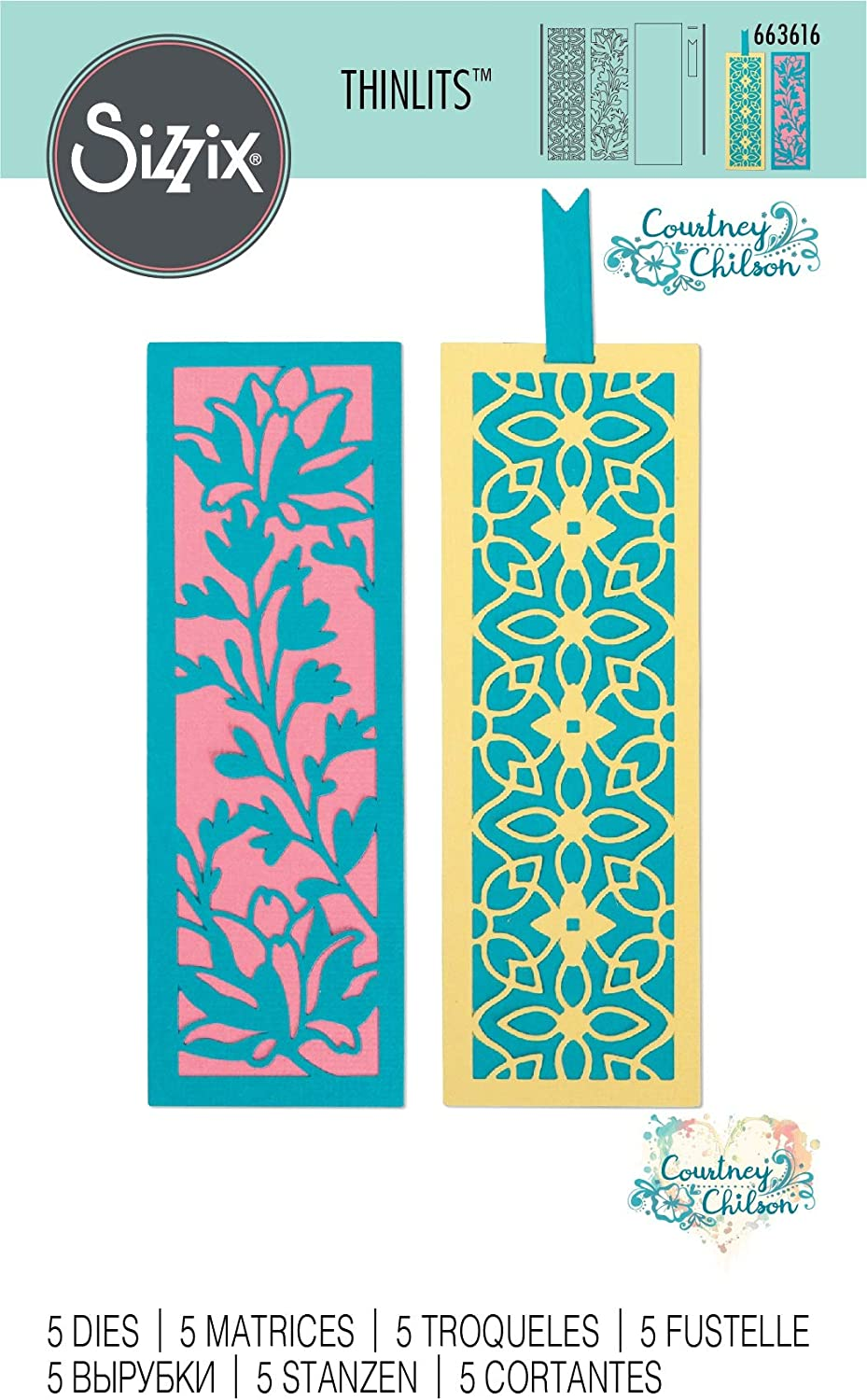 Sizzix Thinlits Die Set 5 Pack 663616 Botanical Bookmarks by Courtney Chilson Multicolour One Size