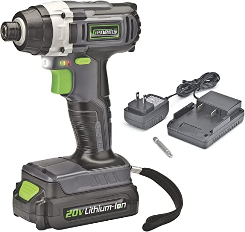 Genesis GLID20A 20V Lithium-ion Battery-Powered Cordless Quick-Change Impact Driver with LED Work Light, Electric Brake, Battery Power Indicator, Charger, Battery, and Impact Driver Bit