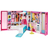 Barbie Dream Closet with 30+ Pieces, Toy Closet, Features 10+ Storage Areas, Full-Length Mirror, Includes 5 Outfits…