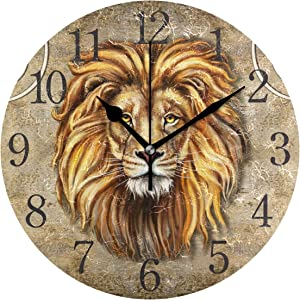 senya Wall Clock Lion Head Silent Non Ticking Operated Round Easy to Read Home Office School Clock