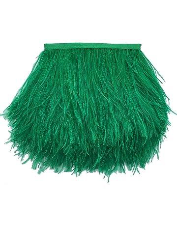 sowder plumas de avestruz Recorta Fringe con cinta de satén para manualidades de costura para vestidos