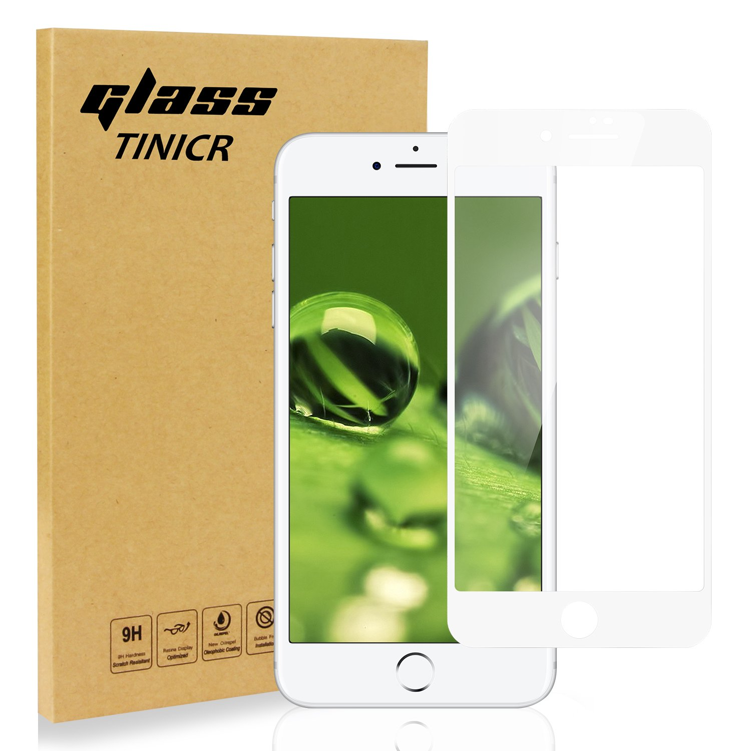 Full Coverage Screen Protector for iPhone 8 Plus 7 Plus, TINICR 4D Curved Soft Edge Anti-Scratch Bubble FreeTempered Glass Screen Cover Shield for Apple iPhone 8 Plus 7 Plus (5.5 '')