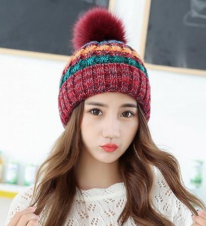 1e0bbfd764ed5 DEED Sombrero de Invierno de Color Femenino de Empalme Tejido Gorro de Lana  Gruesa Sombrero de