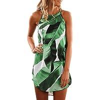 Asvivid Womens Summer Halter Neck Floral Print Sleeveless Casual Mini Dress Beach Short Sundress