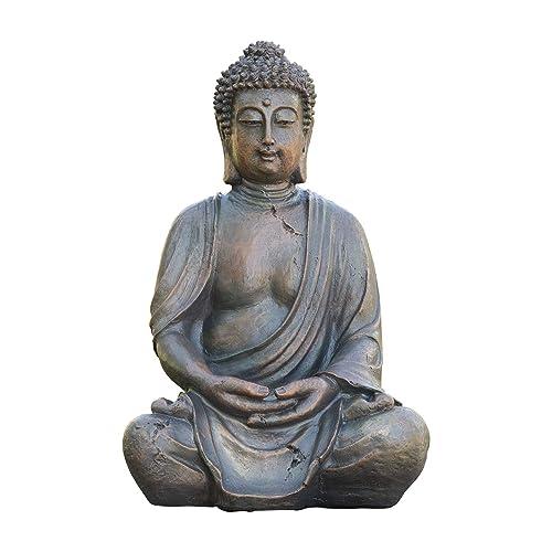 Alpine Corporation Meditating Buddha Statue – Outdoor Decor for Garden, Patio, Deck, Porch – Yard Art Decoration