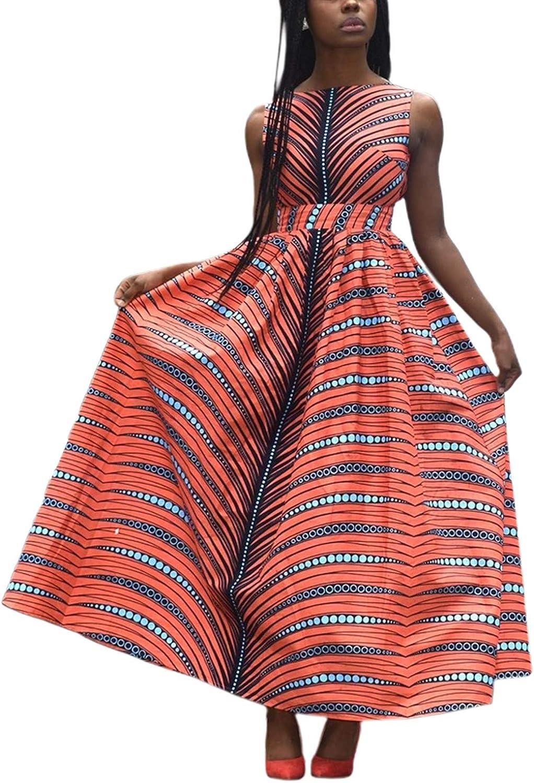 jascaela Women's Boho African Print Sexy Backless Swing Maxi Dress Sleeveless Dashiki Evening Party Long Dress