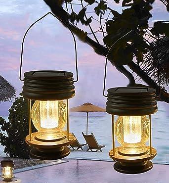 Farolillos solares colgantes 2 unidades de lámpara de jardín al aire libre con luz solar colgante vintage con asa para caminos, patios, árboles, playa, pabellones (luz cálida): Amazon.es: Iluminación
