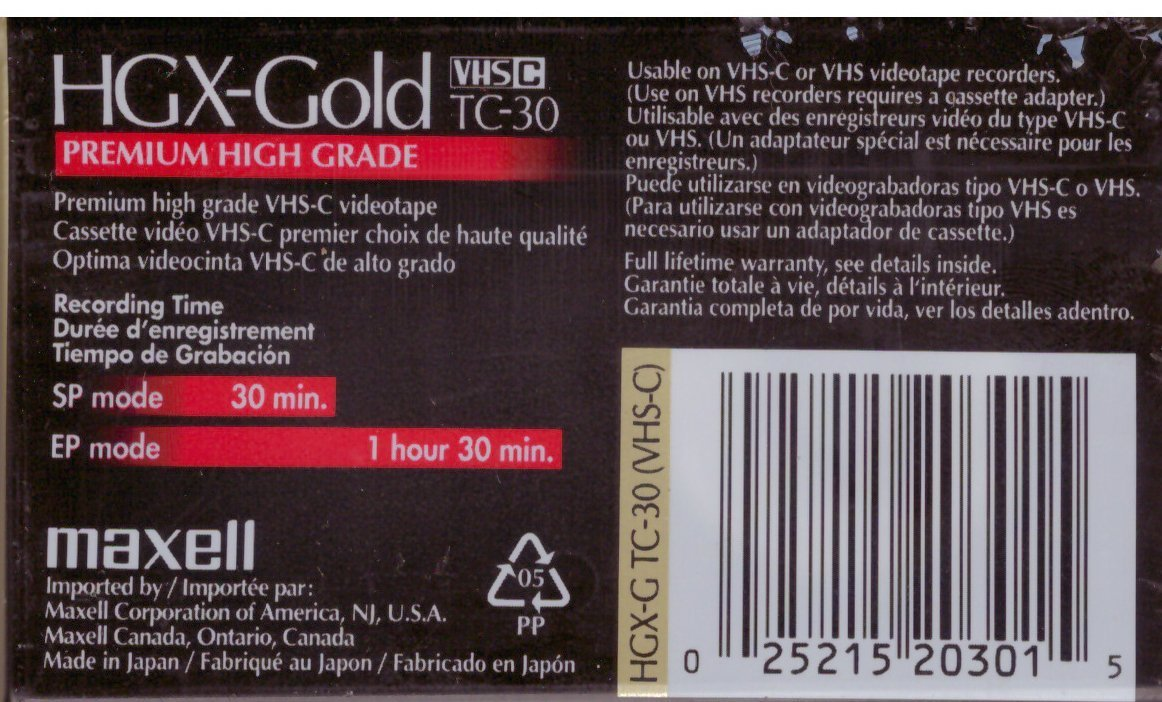 Maxell VHS-C HGX-Gold TC-30 7 Pack by Max