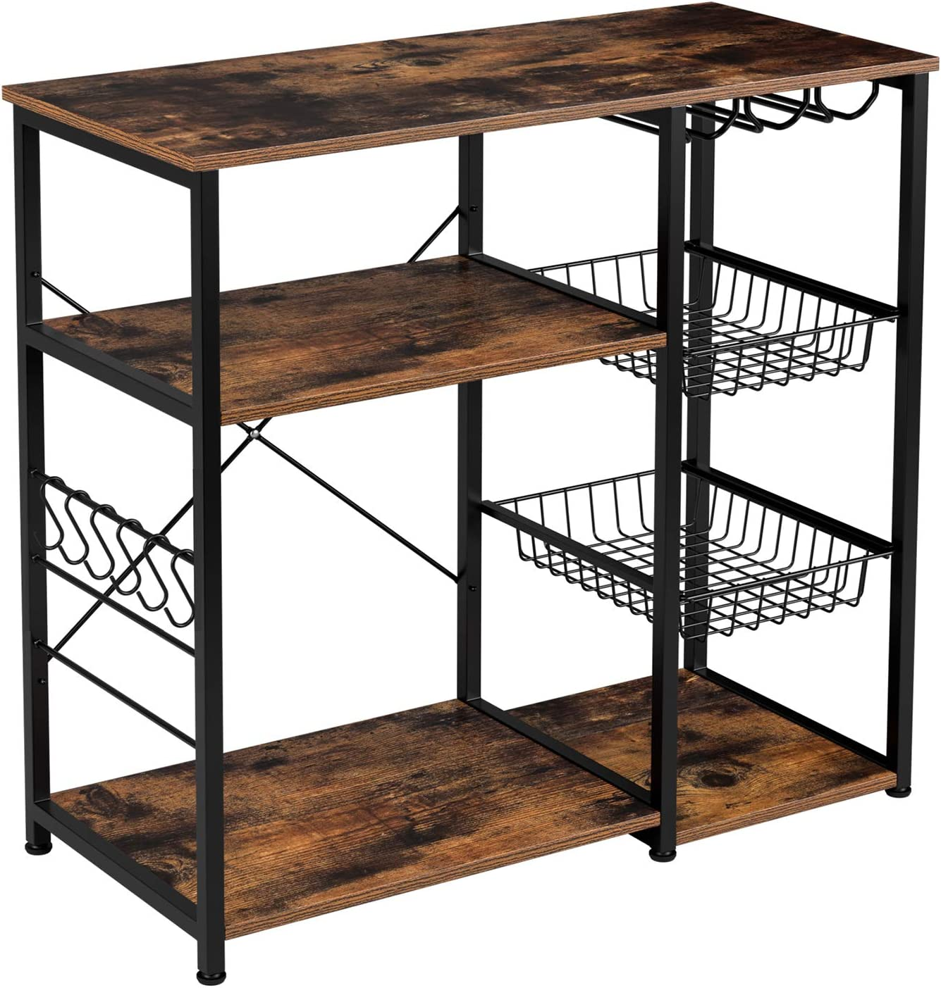 Homfa Kitchen Baker's Rack, 3-Tier Utility Storage Shelf with 2 Slide-Out Cart and Glass Holder, Kitchen Island Rack Workstation Microwave Stand Spice Wine Organizer 35.43 L 15.74 W 33.26 H inches