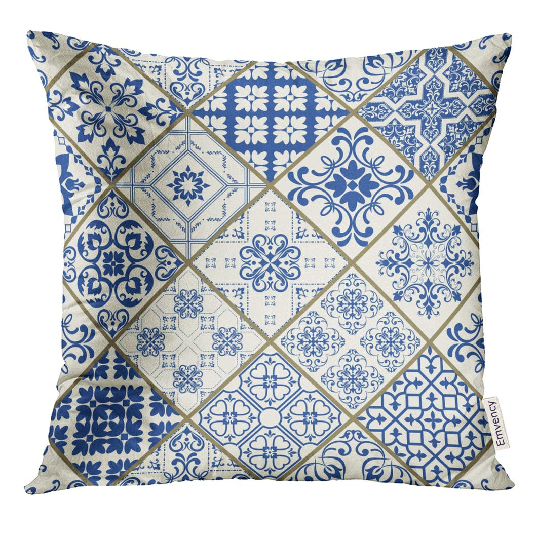 Amazoncom Tomkeys Throw Pillow Cover Patchwork In Blue And White