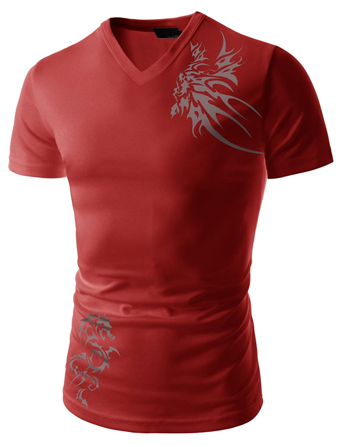 Mens Slim Fit Coolmesh Fabric Tattoo Printing Sports V-neck Tshirts