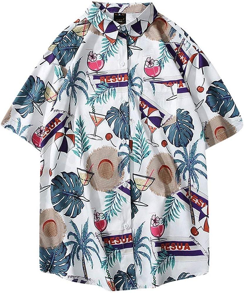 ACEBABY Camisas de Hombre Camisa de Fiesta con Estampado de Viento, Botón Informal Playa Camisas Blanca Hombre Manga Corta Verano Camisa Suelta: Amazon.es: Ropa y accesorios