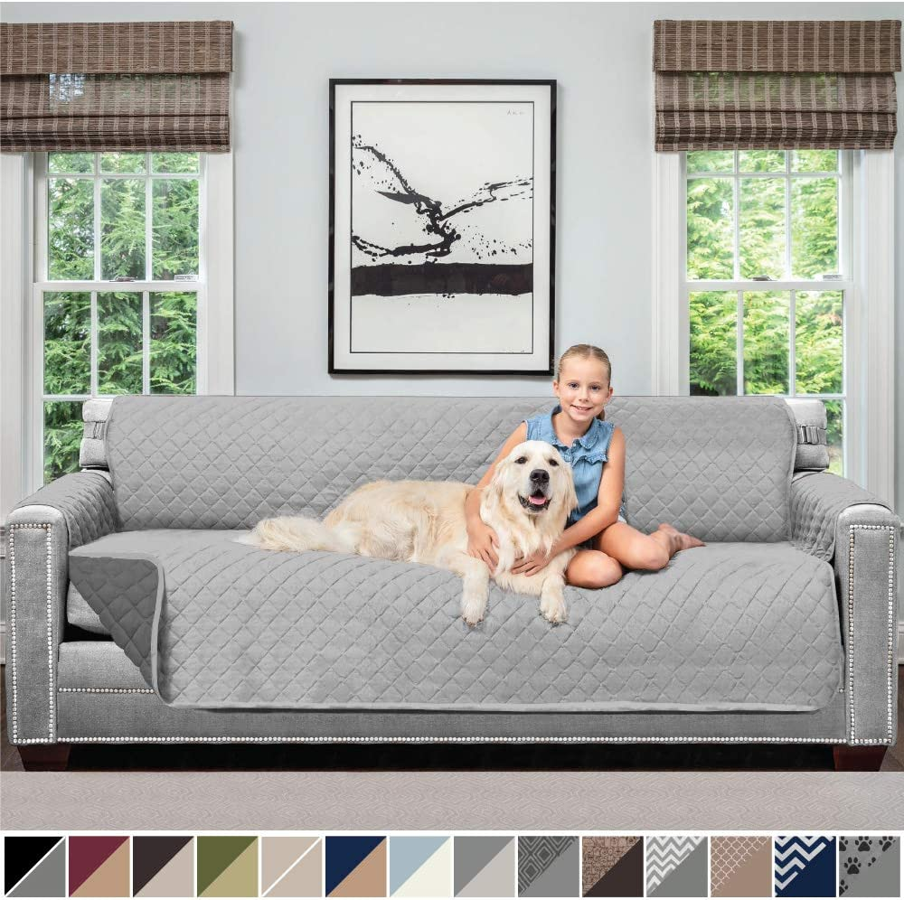 Sofa Shield Original Patent Pending Reversible Oversize Sofa Slipcover, 2 Inch Strap Hook, Seat Width Up to 78 Inch Washable Furniture Protector, Slip Cover for Pets, Oversize Sofa, Lt Gray Charcoal